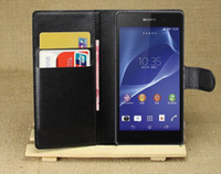 For Sony Ericsson Leather  for sony xperia z2 l50w case leather cover Stand Wallet With Credit ID Card Holder Leather Case