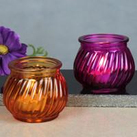 Wholesale Creative Color Glass Candle Cup Wedding Tea Light Candle Holder Romantic Decoration SH298