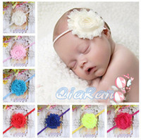 Wholesale Shabby Chic Flower Thin Elastic Headband For Baby Girls Infant Flower Headband Boutique Hair Bows HB032