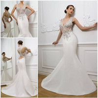Wholesale 2014 Sexy Mermaid Lace see through Top Deep V Beaded white ivory Wedding Dresses Bridal Gowns Satin fish style Backless