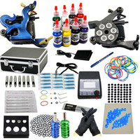 2 Guns Beginner Kit  USA Dispatch Complete beginner Tattoo Kit 2 Machine Guns Power Supply 8 Inks Tools Needles Tip Set Carrying casefree shipping