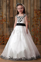 Reference Images Girl Applique Cheap White With BlacK Appliques Ball Gown Flower Girls Dresses Square Neckline Floor-Length With Bow Sash Organza Little Girl Pageant Dress