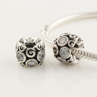 Metals Flowers White Genuine 925 Sterling Silver white Cz Crystal swirl charm Bead Fits European Pandora Style Jewelry Bracelets Necklaces & Pendants