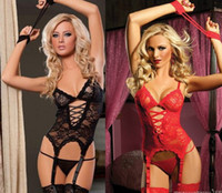 Wholesale Sexy Gauze Prisoner Women s Lingerie Europe Perspective Jumpsuits With the Garter Female Outfit Floral Bustier Lingerie girdles Clothing