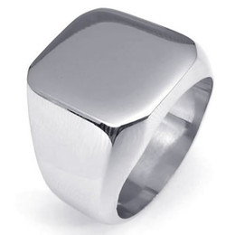 Fashion Jewelry Polished Stainless Steel Band Biker Men's Signet Ring,Color Silver US Size 7 to 15 Drop Free Shipping