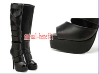 Wholesale Sexy black leather over the knee boots platform hollow cross strap back zipper closure nightclubs dancing shoes gladiator boots by EMS