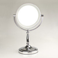 Wholesale Sale off Mother s Day Gift Chrome Finish Dresser Table Lamp Make up Mirror With LED light x to x magnify