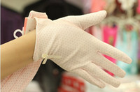 free driving gloves - Women s fashion UV protection dotted cotton driving glove WG321