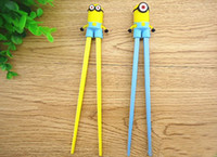 Wholesale New Cartoon Despicable me Minions Cute cartoon Connected Safe Chopsticks Children Learning Chopsticks With Tracking Number