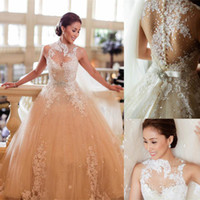 Wholesale 2014 Sexy Luxury Lace Wedding Dresses Ball Gown High Neck Backless See Through Applique Beaded Sash Sheer Bridal Gowns Church Wedding Bride