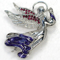 Wholesale Purple Crystal Rhinestone Enamel Fairy angel Pin Brooch Fashion Brooches Jewelry gift C124 D
