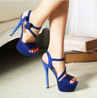 Wedding Heels High Heel Wholesale - Free Shipping 2014 New Fashion Sexy 14cm High Heel Black Blue Tassel Bow Evening Prom Party Wedding Accessories Bridal Shoes D18