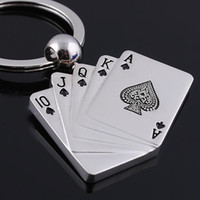 Wholesale 50pcs High grade metal keychain Poker Keychain personalized keychain jewelry Alloy Lover gift Keyring Keyfob wedding gift alloy Novelty gift