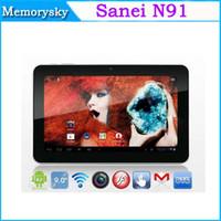 Écran Android 4.0 Sanei N91 Tablet PC Allwinner A13 1.2GHz 512M 8G double caméra capacitive 9 pouces