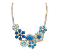 Chokers Bohemian Women's Elegant New Bib Diamond Crystal Chain Statement Necklace Chokers Collar Pendants Flower Necklace NB026