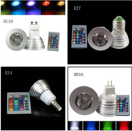 Brand new DHL Free 3W RGB Spotligh E27 E14 GU10 MR16 + remote control rgb light bulb + Free shipping LED rgb spotlight LED bulb LED lamp