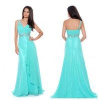Wholesale Sexy One Shoulder A Line Prom Dresses Floor Length Chiffon Formal Evening Dresses Graduation Dresses with Sash FSA