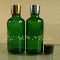 Glass Yes Essential Oil (DHL) Free shipping-200 lot 50ml empty green glass essential oil bottle with gold, silver,black aluminum cap