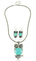 Wholesale sets in fashion jewelry set Patron saint of wealth Owl turquoise jewelry set pc necklace pair Earrings