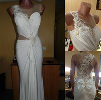 Wholesale Real Photo sleeveless see through pearls beaded Bow white long evening dress Party Dress