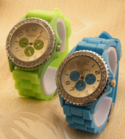 Wholesale High quality Lady s Watch Fashion three eye Diamond GENEVA Watch jelly candy silicon rubber band watches