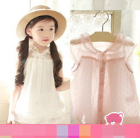 Wholesale 2014 Summer Korean cm Children Girls Sweet Clothing Soft Comfortable Chiffon White Pink Lace Suspender T shirt Tee Shirts Tops F0479