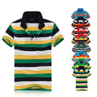 Wholesale 2014 New Fashion Polo Men Short Paul Tee Shirts Tops Casual Polo s Stripe Sports shirts many Color