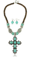 Wholesale sets in fashion jewelry set Big Vintage Tibet turquoise cross jewelry set pc necklace pair Earrings