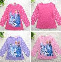 Wholesale 18pcs Frozen Long Sleeve Tshirts Children clothing Cartoon Anna Elsa Tops Tees Kids Clothes Snowflake Queen Tshirt Top Child Kid D2535