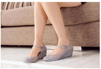 Wholesale Summer shoes wedges sandals high heels women shoes glass slipper jelly shoes