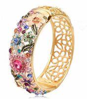 Wholesale New Vintage Elegant Flower Bangle Gifts For Women Cloisonne Pierced Jewelry Austrian Crystal Rhinestones k Gold Plated Brand Bracelet