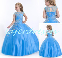 Reference Images Girl Beads 2014 New glitz pageant dresses for Little girls Halter Ball Gown Blue and Red Beaded Puffy Pageant Dresses for lovely kid Birthday 0407
