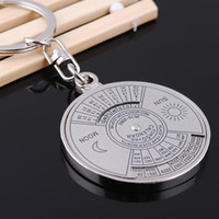 Wholesale 50pcs Keychains Metal Circular Compass Car Keychain Outdoor waist Hanging Keychain Alloy Lover gift Keyring Keyfob wedding gift