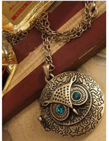 Wholesale 2014 New Antique Bronze Blue Eye Alloy Owl Round Retro Necklace fashion vintage necklace for woman