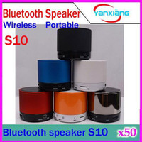 Haut-parleur portable sans fil mini de haut-parleur de bluetooth de DHL 50PCS S10 pour l'appel de réponse de soutien de mobliephone de bluetooth et la carte YX-LZ-03 de TF