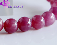 Mexican bead bracelet stretch - Discount Natural Genuine Pink Red Ruby Bracelet Smooth Round beads Finished Stretch Bracelets mm