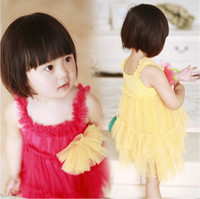 TuTu Summer Pleated New Summer Childern's Dresses Wear Sweet Princess Dresses Small Girl's Lace Sundress Chest has big Lace Flowers Baby Papy Skirt G0038
