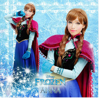 Wholesale Pre Sale Woman Ice Snow Queen Princess Froze Anna Sets Without Cape Clothes Long Sleeve Sparkling Dresses Cosplay Dressy Suits D2544