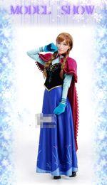 Wholesale Pre Sale Woman Frozen Ice Snow Queen Princess Anna Long Cape Clothes Cosplay Cape Style M0138