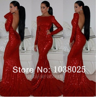 Wholesale New Prom Gowns Red Mermaid Long Sleeves Backless Beteau Sequins Sweep Train Evening Prom Dresses