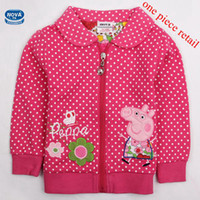 Jackets Girl Spring / Autumn One Piece Retail Children Jacket Girl Winter Coat Peppa Pig Full Cotton Polka Dot Printed Peppa Pig Coat Sport Clothes 100% Cotton(F4298)