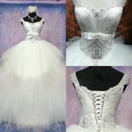 Wholesale 2014 Newest Wedding Dress Real Photo Ball Gown Sweetheart Cap Sleeve Floor Length Lace Appliques Beading Tulle Luxury Bridal Gown EM01162