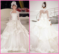 Wholesale 2014 Ball Gowns Strapless Lace Up Sweep Train Sleeves Lace Organza Jacket Layered Bottom Lace Skirt New Bridal Princess Wedding Dresses