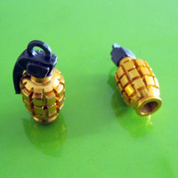 Wholesale 60pair Metal Grenade Design Car Motorcycle Bike Tire Tyre Valve Dust Caps golden
