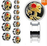 Wholesale mixed sizes Steel Red Rose Skeleton Cameo ear plugs body piercing jewelry flesh tunnel