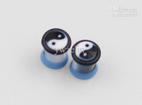 Plugs & Tunnels Acrylic, Resin, Lucite Thanksgiving Day wholesale Chinese Tiaji style blue ear plug tunnel mixed size body jewelry free ship