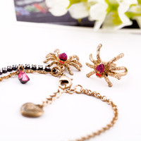 Wholesale Include anklet and toe ring fashion crystal spider charm gold plated chain anklet jewelry qd3