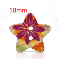 Quilt Accessories Buttons Flatback 100 Pcs Star Shape 2 Holes Wood Sewing Buttons 18x17mm W01432 Knopf Bouton(W01432 X 1)