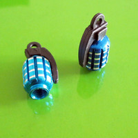 Wholesale 60pair Metal Grenade Design Car Motorcycle Bike Tire Tyre Valve Dust Caps Blue