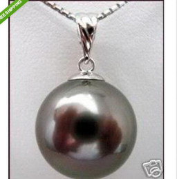 Wholesale Lustrous MM Black sea shell pearl pendant necklace